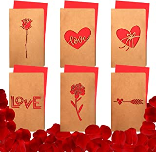 TUPARKA 12 Pcs Valentine Cards Laser Cut Cards Greeting Cards with Envelope and 1000 Pcs Red Silk Rose Petals for Romantic Night, Valentine's Day, Wedding