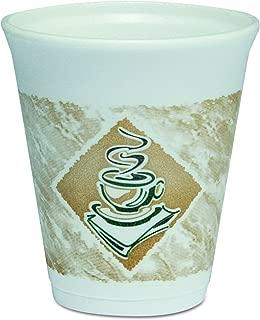 DART 8X8G Café G Foam Hot/Cold Cups, 8oz, White w/Brown & Green (Case of 1000)