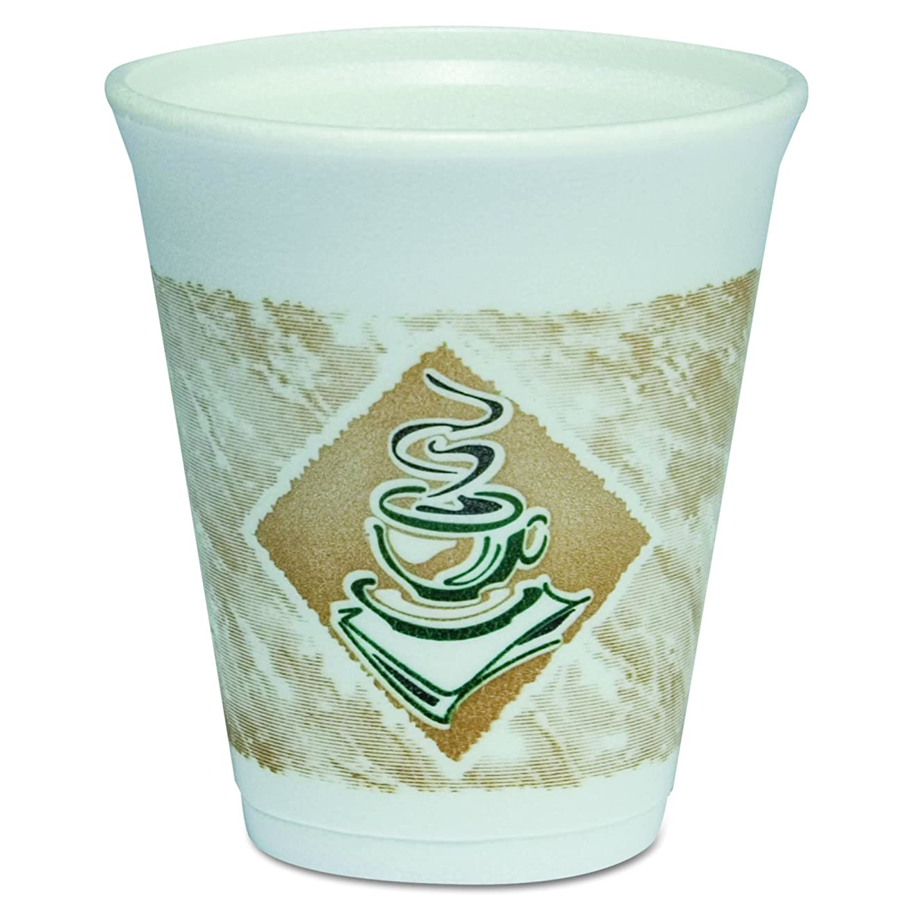 Dart 8X8G Café G Foam Hot/Cold Cups, 8oz, White w/Brown & Green (Case of 1000)