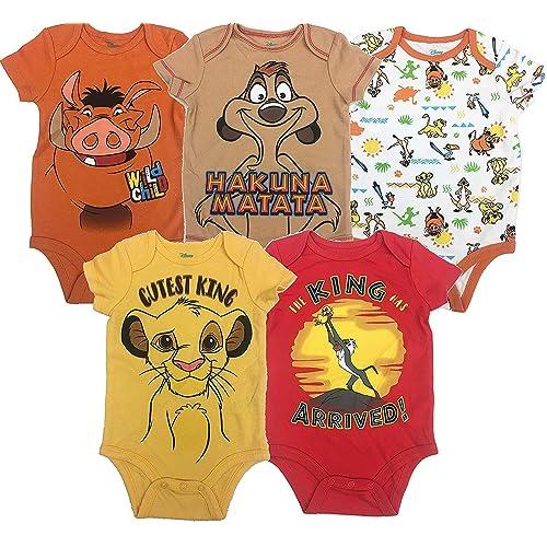 0269c994c67e8 Disney Lion King Baby Boys' 5 Pack Bodysuits Simba Timon Pumbaa