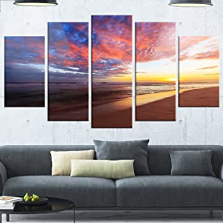 Designart MT14812-373 Colored Clouds in Beach At Sunset - Large Seashore Glossy Metal Wall Art,Pink,60x32