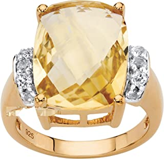 14K Yellow Gold over Sterling Silver Cushion Cut Genuine Yellow Citrine and Round Genuine Topaz Ring