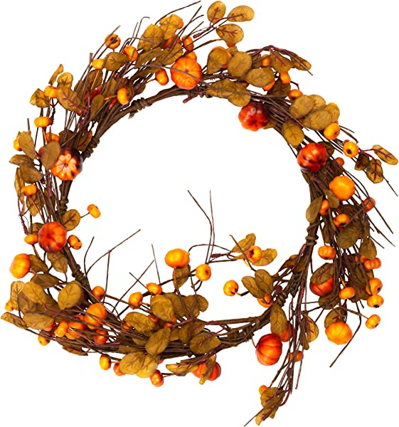 Honey And Me Small Pumpkin Country Fall Medley 14 X 14 Artificial Harvest Decorative Wreath