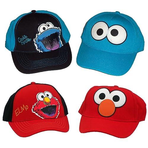 ae6c14d3b8207 Sesame Street Elmo   Cookie Monster Boys Baseball Cap UPF 50+ Sun Hat (Set