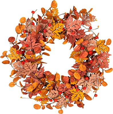 VGIA 18 Inch Fall Wreath Front Door Wreath Autumn Wreath with Wood Maple Leaves Autumn Decorations with Golden and Red Foliage  for Home
