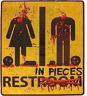 Skeleteen Bloody Restroom Sign Sticker - Halloween, Haunted House and Horror Themed Parties Bathroom Door Decoration - Rem...
