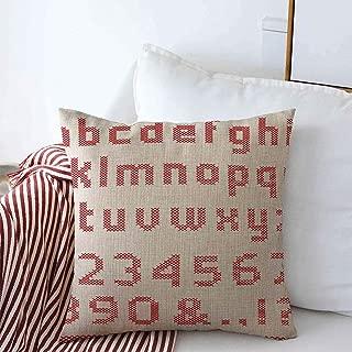 Pillow Case Alphabet Red Letter Cross Stitch Numbers Text Needlework Lowercase Capital Design Fancywork Farmhouse Decorative Throw Pillowcase 20