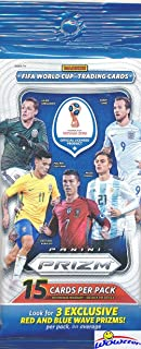 2018 Panini Prizm FIFA World Cup Soccer Factory Sealed JUMBO FAT PACK with 15 Cards Including (3) EXCLUSIVE RED & BLUE WAVE PRIZMS! Look for Auto's of Messi, Ronaldo, Pele, Maradona, Neymar & More!