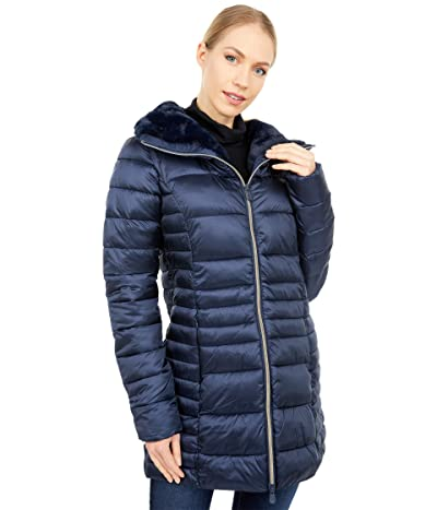 Save the Duck Iris Shiny Iridescent Faux Fur Lined Puffer Coat (Blue/Black) Women