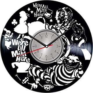 TopVinylShop Alice in Wonderland Vinyl Wall Art Clock - Home Decor for Him Her Birthday Christmas Anniversary - Themed Clock for Cartoon Lovers Fans - Kids Living Room Kitchen Wall Art - 12 Inches