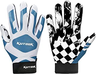 KUTOOK Football Gloves Pro Sticky Receiver Gloves Padded Breathable for Adult and Youth