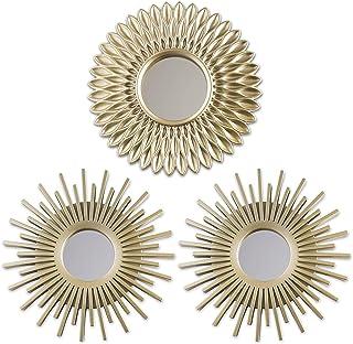 BONNYCO Miroir Murale 3 Pièces Miroir Rond pour Decoration Murale dans Maison, Salon et Chambre | Miroir Soleil Accrocher ...