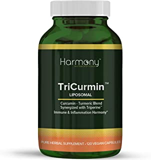 Tricurmin Turmeric Curcumin with Ginger & Triperine - Best Vegan Joint Pain Relief, Anti-Inflammatory, Antioxidant & Anti-Aging Supplement with Black Pepper for Better Absorption. 100% Natural Non-GMO