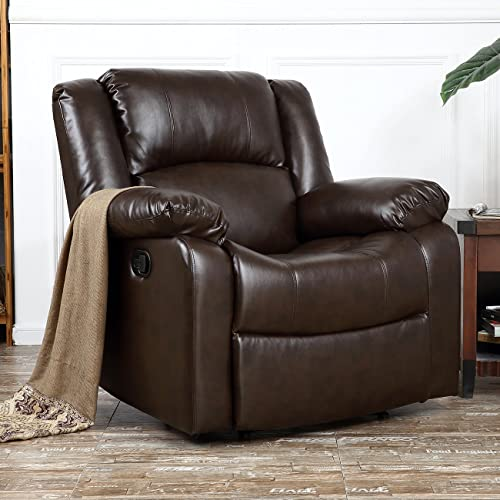 new arrival BELLEZE Deluxe Heavily discount Padded PU high quality Leather Recliner Chair Lounge Club, Brown sale