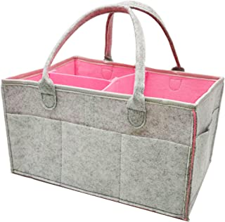 Baby Diaper Caddy Organizer Baby Shower Gift Basket for Boys Girls Diaper Tote Bag Nursery Storage Bin for Changing Table | Newborn Registry Must Haves Portable Car Travel Organizer