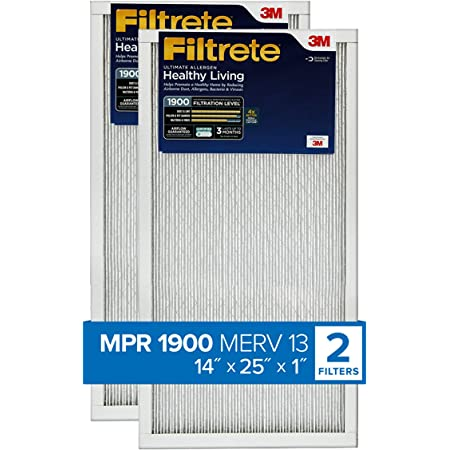 14 x 14 x 1-Inches 2-Pack MPR 1900 Filtrete Healthy Living Ultimate Allergen Reduction AC Furnace Air Filter