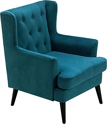 Elle Decor Celeste Upholstered Mid-Century Channel Tufted Accent Chair, Microfiber Velvet Armchair for Living Room, Teal