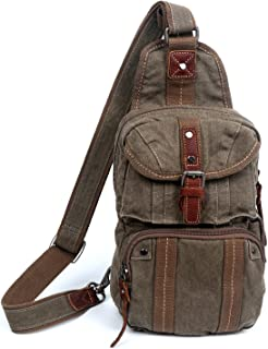The Same Direction Sunset Cove Backpack Leather and Canvas Sling Crossbody Bag (Army Green)