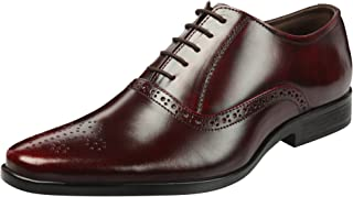 Heels & Shoes Men's Natural LeatherLace up Semi-Brogue Derby Shoes
