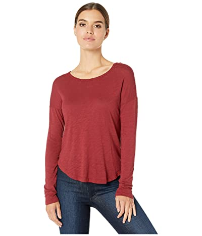 Splendid Zander Long Sleeve Cotton Modal Slub Easy Crew Tee (Cabernet) Women