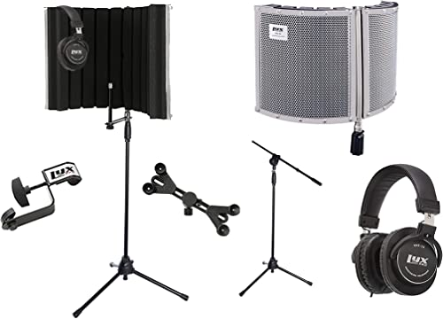 new arrival LyxPro VRI 30 Portable Acoustic Isolation Instrument Shield, Sound Absorbing Panel with Tripod Microphone Stand, Universal Smartphone Tablet Holder Detachable Clip & wholesale Studio 2021 Professional Headphones online sale