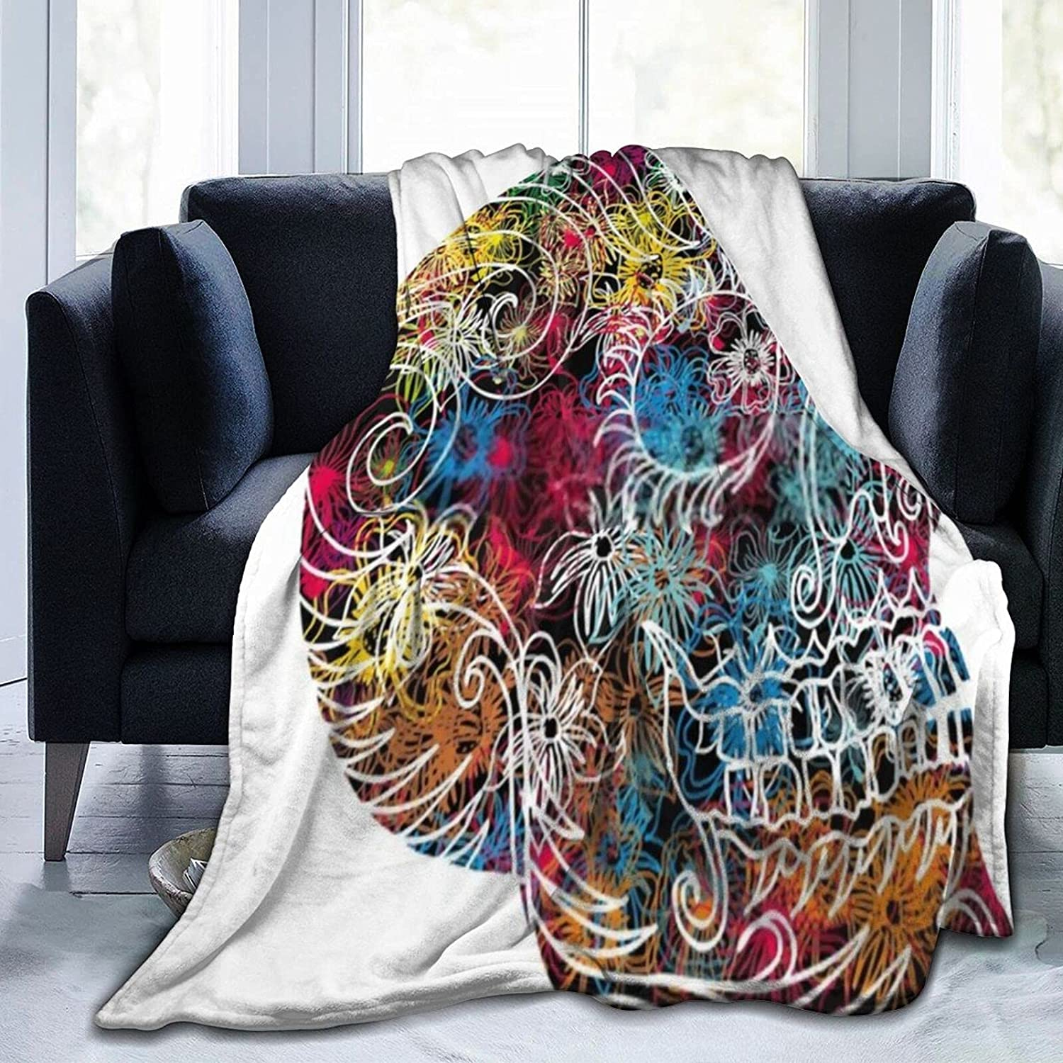 Purple Rose Skull1 Blanket Soft Micro and Super Comfortable Now on 25% OFF sale