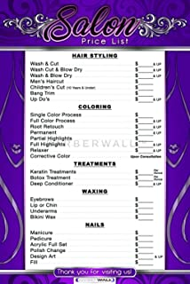 Price List For Beauty Salon, By BARBERWALL | Salon Poster - Dimension 24 X 36 inches - This beauty salon poster is already laminated