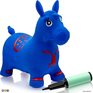Horse Hopper Blue - Inflatable Horse Bouncer Free Pump Included - Bouncy Horse Toys for Kids & Toddler Riding Horse Toy Great for Indoor and Outdoor Toys Play - Best Gift for Boys and Girls (Blue)