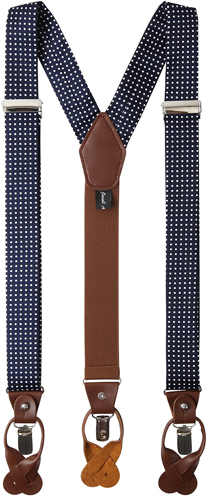 Men's Vintage Style Suspenders Braces Jacob Alexander Mens Polka Dot Y-Back Suspenders Braces Convertible Leather Ends and Clips  AT vintagedancer.com