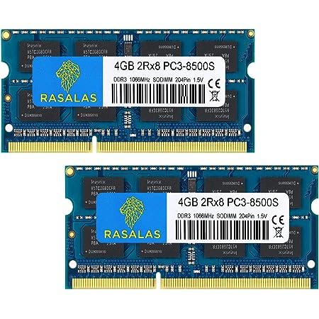 DDR3 1066MHz PC3-8500 2枚x4GB Sodimm 2Rx8 DDR3 1066 PC3-8500S 1.5V CL7 ノートPC用 メモリ