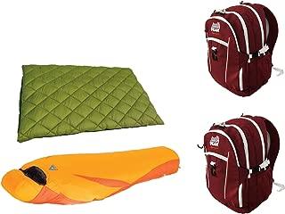 Alpinizmo High Peak USA Florida 20 & Latitude 0 Sleeping Bag + 2 Backpacks Combo, Red/Orange/Green, One Size