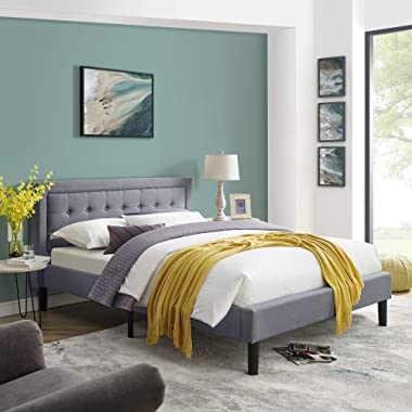 Vibe Mornington Upholstered Platform Bed | Headboard and Metal Frame with Wood Slat Support, Queen, Grey