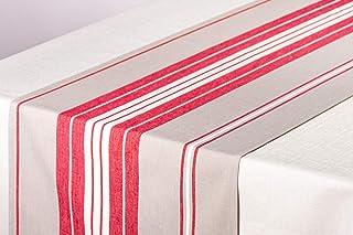 L'Océane Chemin de Table 100% Coton tissé Teint Enduit Collection Itxassou (Rouge Cerise/Blanc)