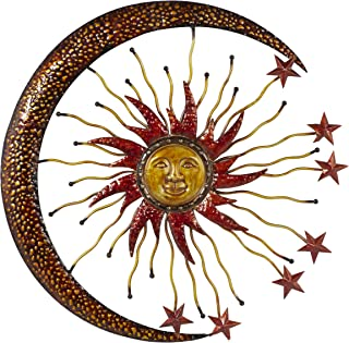 """Deco 79 Eclectic Celestial-Themed Metal Wall Decor, 36""""Diameter, Copper and Gold Finishes"""