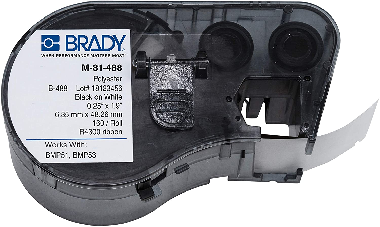 Brady M-81-488 Polyester B-488 Black on White Label Maker Cartri