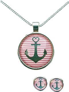 JulieAnn - Parure di orecchini e collana in stile marittimo con ancora, vari colori