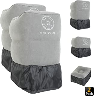 Reliasolute Inflatable Travel Foot Rest Pillow - Toddler & Kids Bed Airplane Bed, Inflatable Foot Rest for Air Travel, Adjustable Height Airplane Footrest for Airplane, Office, Bus or Car (2 Pack)