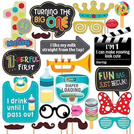 Party Propz First Birthday Photo Booth Props-24Pcs For 1st Bday Theme Supplies/Girl Boys Baby Kids Combo Decorations Items/Cake Smash/High Chair,Babies Room Decor/Photoshoot/Selfie/Funny Card Props