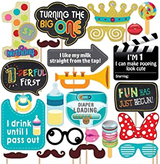 Party Propz First Birthday Photo Booth Props-24Pcs For 1st Bday Theme Supplies/Girl Boys Baby Kids Combo Decorations Item...