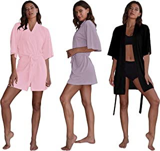 Women's Kimono Robes (3 -Pack) Lightweight Bath Robe/Soft Sleepwear V-Neck Ladies Nightwear - Coverup