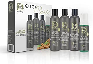 Design Essentials Natural Almond & Avocado Quick Curls Box Exclusive, All-In-One Wash Day Routine, for Super Moisturized, Frizz-Free, Defined Curls - Women, Men, and Kids,4pc set