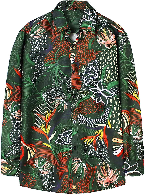Men's Graphic Shirt Regular Fit Long-Sleeve Button Down Shirts Casual Standard-Fit Hawaiian Blouse Tops