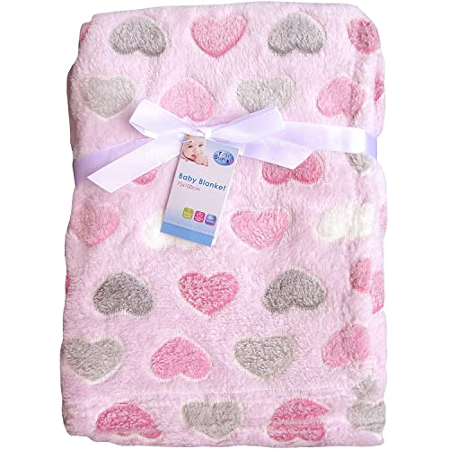 """""""First Steps"""" Luxury Soft Fleece Baby Blanket in Cute Hearts Design 75 x 100cm for Babies from Newborn"""