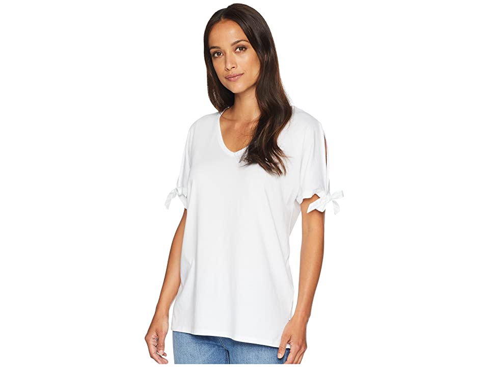 NYDJ Tie Sleeve Tee (Optic White) Women