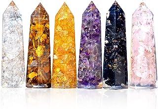 "Healing Crystal Wand Set of 6 Orgonite – Includes 3"" Amethyst Crystal, Tigers Eye, Rose Quartz, Black Tourmaline Stone, Citrine and Clear Quartz Orgone Crystal Plus Black Tourmaline Necklace"