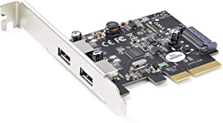 2-Port USB PCIe Card with 10Gbps/Port - USB 3.1/3.2 Gen 2 Type-A PCI Express 3.0 x2 Host Controller Expansion Card - Add-O...