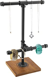 MyGift 2 Tier Metal Industrial Pipe T-Bar Jewelry Necklace & Bracelets Display Tower w/Wood Base, Black