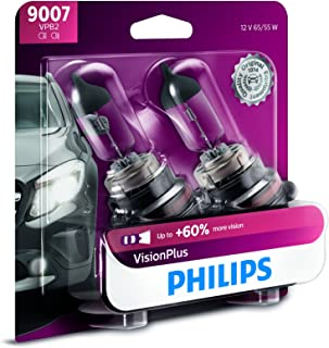 Philips 9007 VisionPlus Upgrade Headlight Bulb with up to 60% More Vision, 2 Pack - 9007VPB2