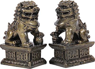 Foo Dogs Guardian Lion Statues - Pair of Fengshui Fu Dogs Figurine - Housewarming Congratulatory to Ward Off Evil Energy
