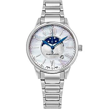 Alexander Monarch Vassilis Moon Phase Dateホワイト母のパール35mm Large Face Watch For Women–Swiss QuartzステンレススチールシルバーバンドエレガントなレディースファッションDesignerドレスWatch a204b-01